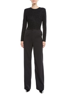 Escada Beaded-Bodice Jewel-Neck Long-Sleeve Belted Straight-Leg Jumpsuit