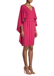 Escada Beaded Trim Cape Dress