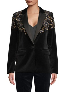 Escada Begasab Velvet Embroidered Tuxedo Jacket