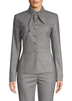 Escada Belany Houndstooth Tie Neck Jacket