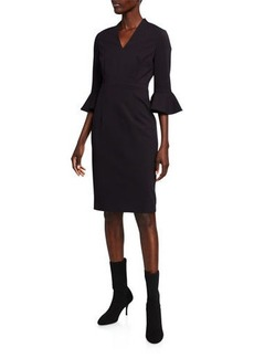 Escada Bell-Sleeve Sheath Dress