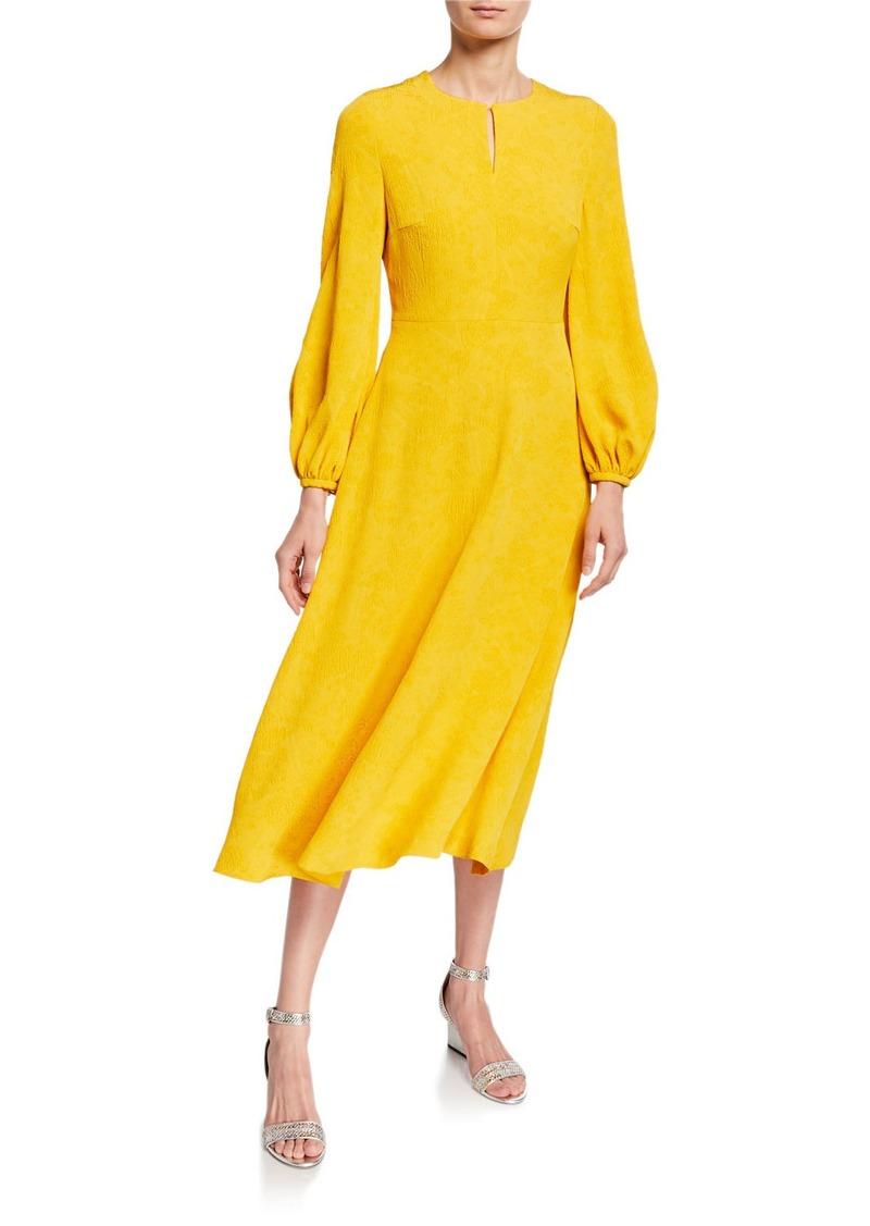 Escada Blouson-Sleeve Jacquard Fit-&-Flare Midi Dress