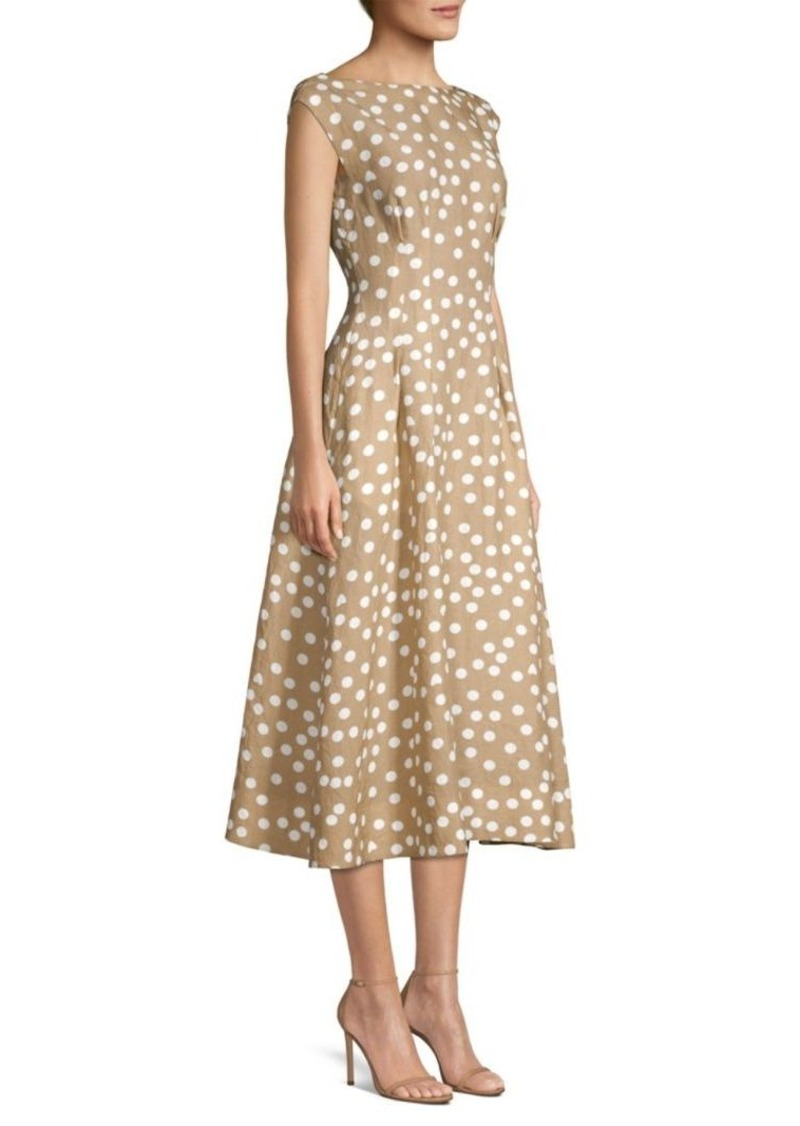 Escada Boatneck Polka Dot A-Line Dress