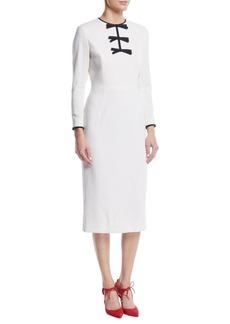 Escada Bow-Front Long-Sleeve Wool Sheath Midi Dress
