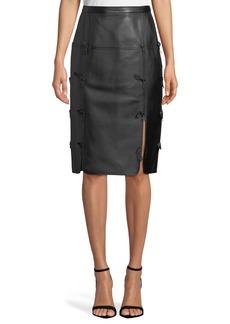 Escada Bow-Seam Leather Midi Skirt
