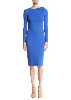 Escada Bow-Shoulder Long-Sleeve Jersey Bodycon Dress