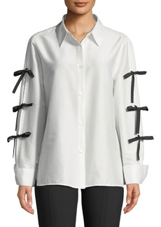 Escada Bow-Sleeve Button-Front Cotton-Silk Shirt
