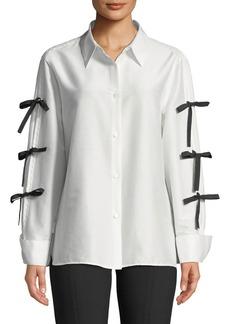 Escada Bow-Sleeve Button-Front Cotton-Silk Shirt