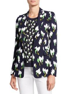 Escada Brikenan One-Button Abstract Floral-Print Jersey Blazer