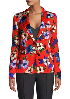 Escada Brikenani One-Button Floral Blazer