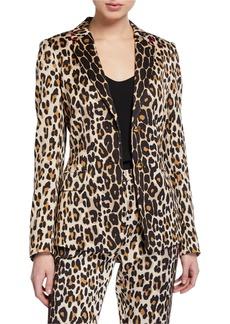 Escada Brikenanti Leopard-Print Blazer Jacket