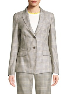 Escada Brikenanti Plaid Two-Button Blazer
