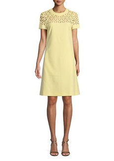 Escada Broderie Anglaise Short-Sleeve A-Line Dress