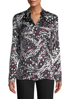 Escada Button-Front Long-Sleeve Feather-Print Silk Blouse