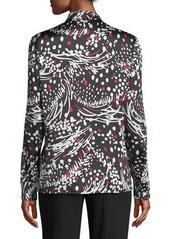 Escada Button-Front Long-Sleeve Feather-Print Silk Blouse