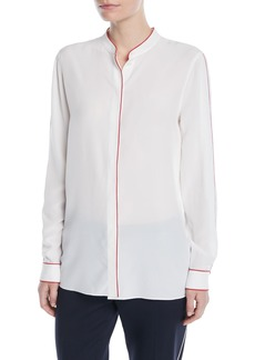 Escada Button-Front Long-Sleeve Silk Blouse w/ Contrast Piping