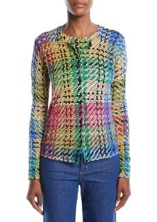 Escada Button-Front Multicolor Blanket-Weave Cardigan
