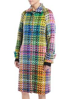 Escada Button-Front Multicolor Blanket-Weave Coat w/ Golden Snaps