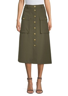 Escada Button Midi Safari Skirt