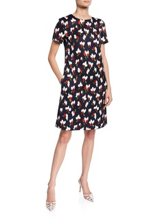 Escada Cap-Sleeve Abstract Floral Dress