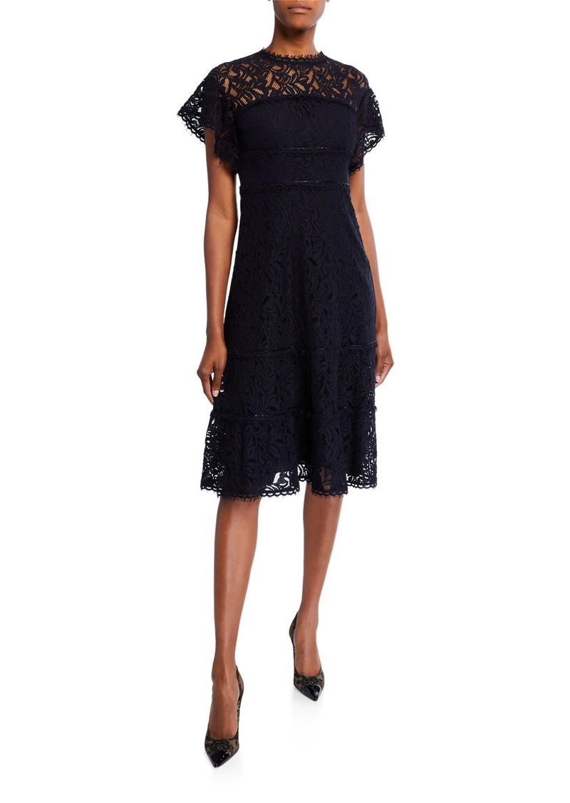 Escada Cap-Sleeve Lace Illusion Dress