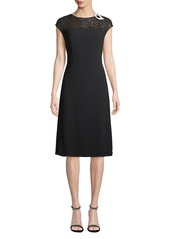 Escada Cap-Sleeve Lace-Neck A-Line Crepe Dress