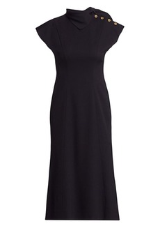 Escada Cap-Sleeve Neckerchief Wool Crepe Dress
