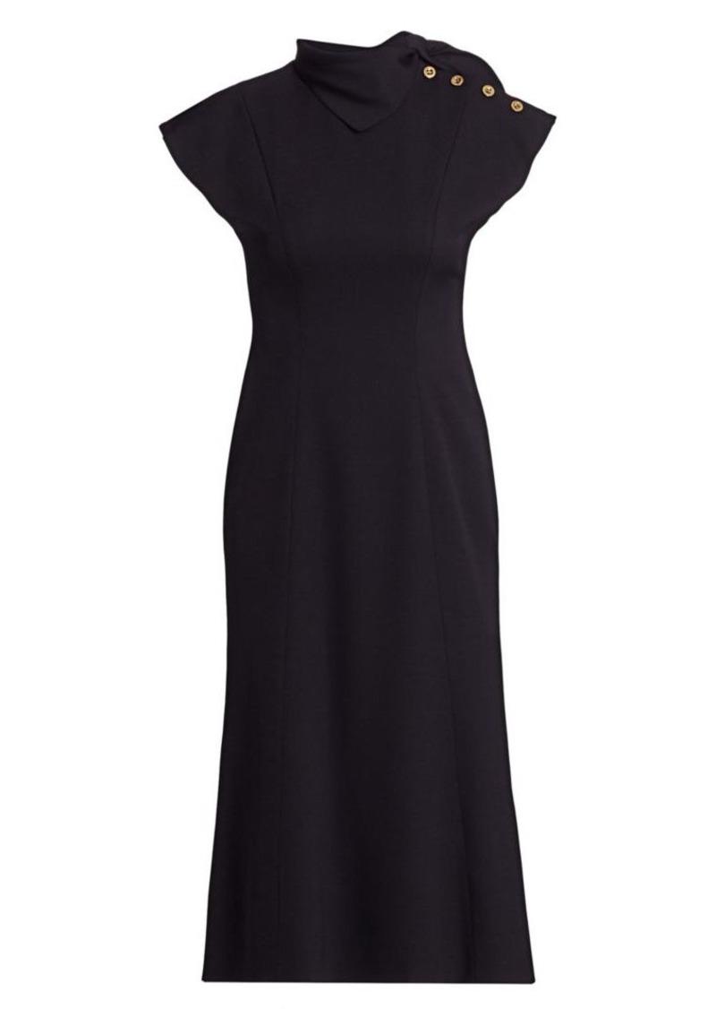 Escada Cap-Sleeve Neckerchief Wool Crepe Dress