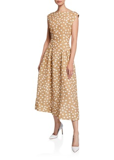 Escada Cap-Sleeve Polka-Dot Linen Dress