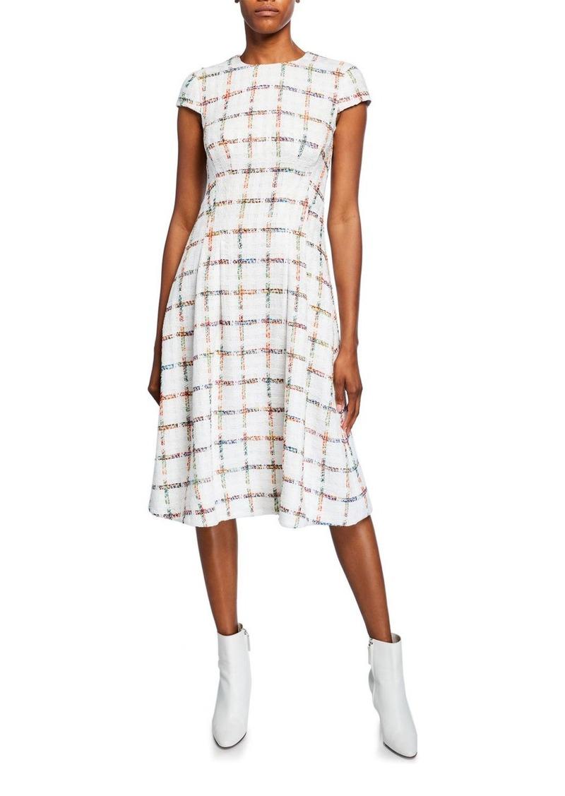 Escada Cap-Sleeve Windowpane Tweed Dress