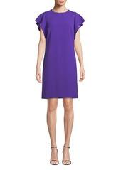 Escada Cascade-Ruffle Sleeveless Straight Chemise Dress