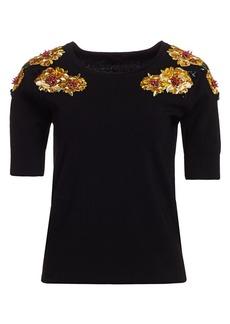 Escada Chrysanthemum Embroidered Sweater