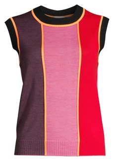 Escada Colorblock Wool Shell