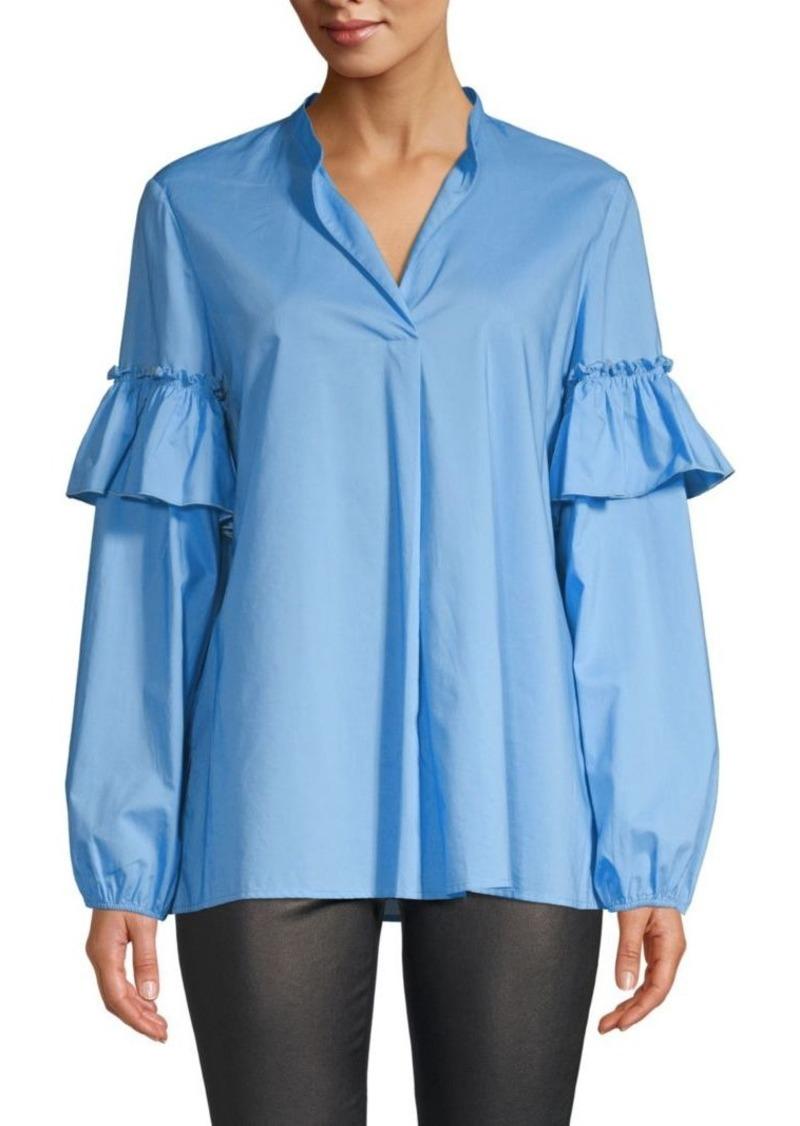 Escada Cotton Ruffle Sleeve Shirt