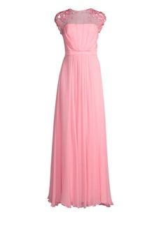Escada Crepe Chiffon Silk Sheath Gown