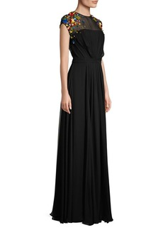 Escada Crepe Chiffon Silk Sheath Gown