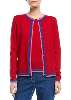 Escada Crewneck Button-Front Long-Sleeve Wool Cardigan