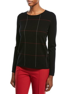 Escada Crewneck Long-Sleeve Grid-Stitch Pullover Top