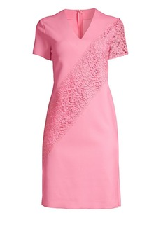 Escada Dacaya Scuba Knit Lace Sheath Dress