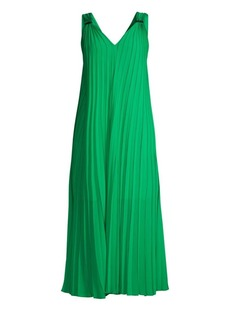 Escada Daheem V-Neck Pleated Maxi Dress