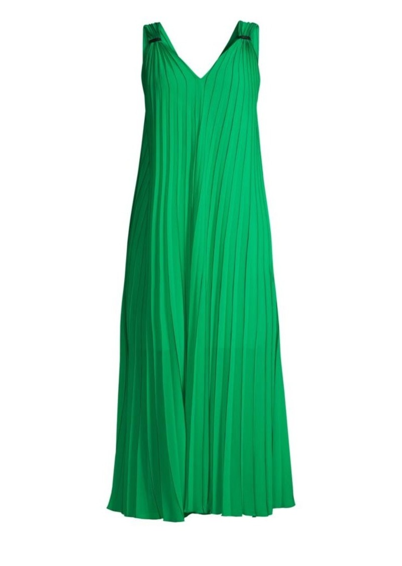 Escada Daheem V-Neck Pleated Maxi Dress