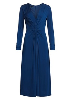 Escada Dahlias Twist-Front Jersey Midi Dress