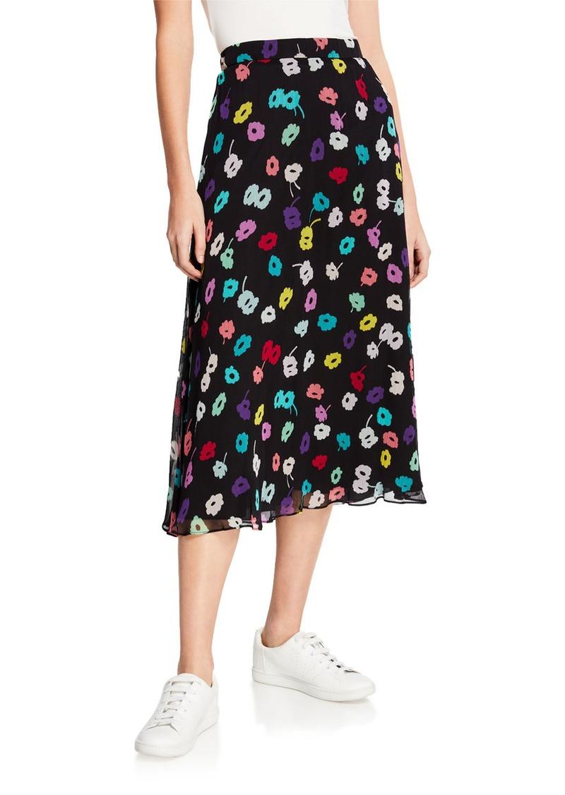 Escada Daisy-Print Crepe Midi Skirt