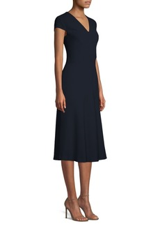 Escada Daka Cap Sleeve V-Neck Dress