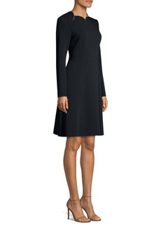 Escada Daksha Wool Scalloped Neck Dress