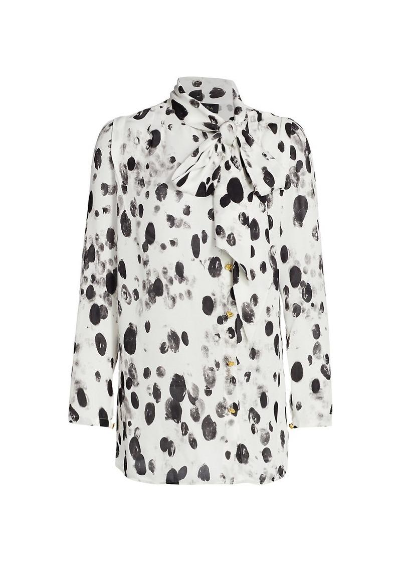 Escada Dalmatian-Print Silk Pussybow Blouse