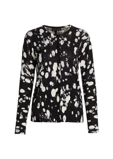 Escada Dalmatian-Print Wool & Silk Cardigan