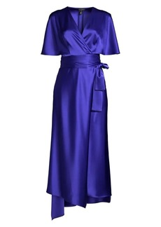 Escada Dammeriah Satin Cape Wrap Dress