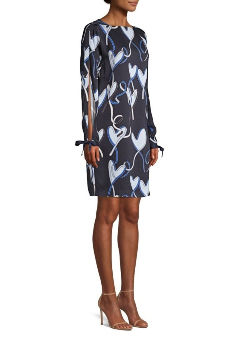 Escada Damour Ribbon Hearts Open Sleeve Dress