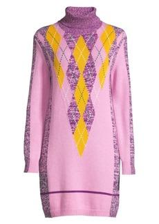 Escada Danata Wool Argyle Turtleneck Sweater Dress